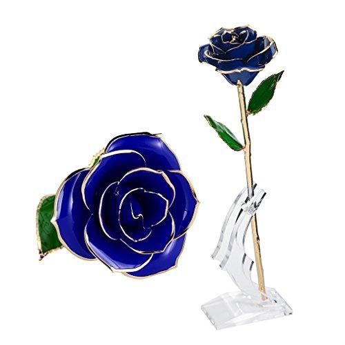 Goldene-blatt-grüner Tee Tee (Valentinstag Geschenke für Sie, ICOCO 24 Gold Langen Stiel Echte Rose mit Standfuß – romantisches, persönliches, liebevolles Blumengeschenk für Frau Freundin Geburtstag, Muttertag, Hochzeitstag, Jahrestag, Geburtstagsgeschenk Rose)