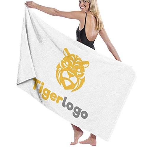 cleaer übergroße Strandtücher, Tiger Logo Prints Badetuch Wrap Womens Spa Dusche und Wrap Handtücher Schwimmen Bademantel vertuschen für Damen Mädchen - Weiß (Über Multi-logo-print)