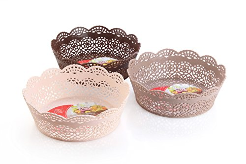 Nayasa Lacy Round 3 Piece Basket Set, Beige, Peach and Chocolate