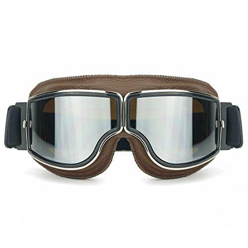 Heinmo Motocross Aviator Ski Motorrad Roller Brille Retro Helmbrille für Harley (Silver lens brown padding)