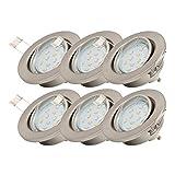 Faretti LED ad incasso orientabili, include lampadine GU10 da 3W, diametro foro 68mm, set da 6, faretti da soffitto e per l'illuminazione da interno, corpo metallo color nickel opaco 230V IP23