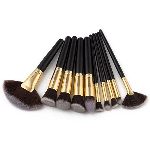 Maquillage Brosse, 10 Pcs/Set Fan Brush Fondation Liner Lip Eyebrow Blush Maquillage Brosse Fondation Mélange Poudre Ombre à Paupières Contour Concealer Beauté Joue Outil Cosmétique