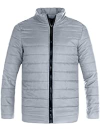 Rera Homme Veste Doudoune Matelassé Zip Hiver Chaud Manteau Blouson Sport  Manches Longues Outwear Outdoor Col d48b5676c51