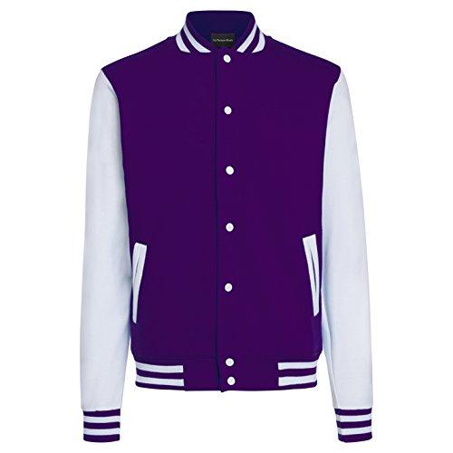 College Jacke / Leichte Sweatjacke - Farbe: Purple/White - Größe (Gangster Shirt Gestreifte)