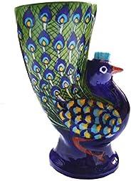 Shiv Kripa Ceramic Flower Vase (7 inch, Blue)