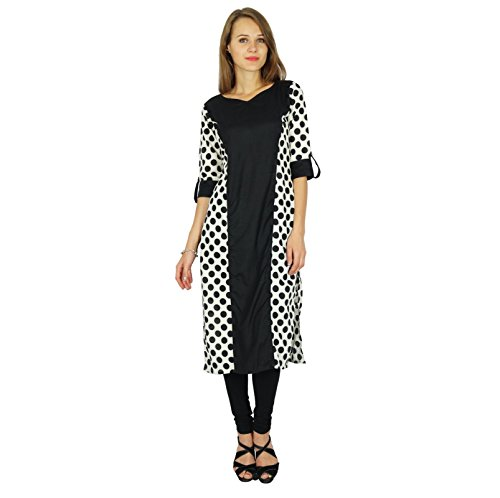 Phagun Kurta Designer Indian Bollywood Women Ethnic Kurti Casual Tunic  Dress Schwarz und weiß