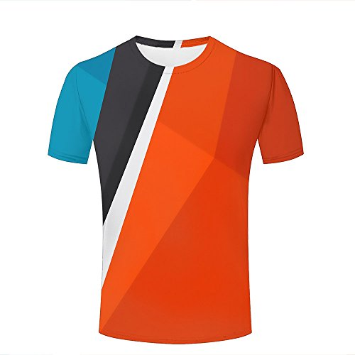 Color Block Denim Shirt (Men 3D Tshirts Unisex Colorful Foldings Block Simple Fashion Summer Tees Top XXL)