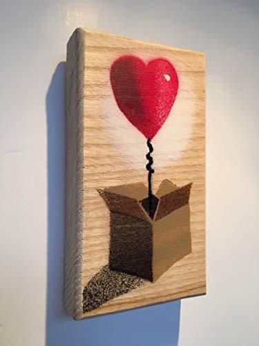 Picture Box (Mikro Schablone) für ihr / Muttertag Geschenk / Geschenk für Hochzeit, romantisches Geschenk - Spray auf Eiche gemalt - 8 x 14 cm ()
