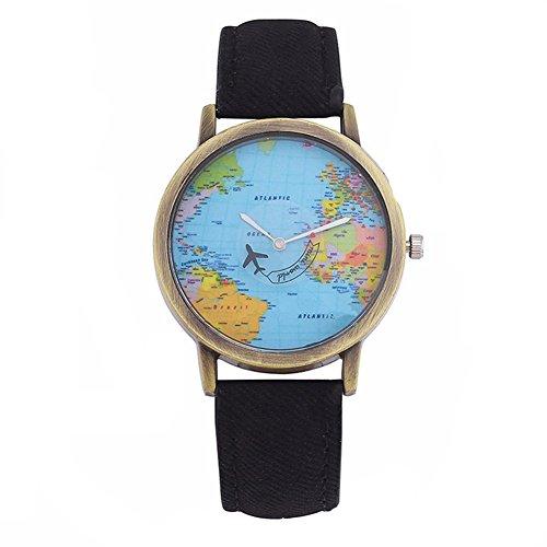 Fenkoo Uhren Frau das Flugzeug Karte der Welt retro rom Quarzuhr beobachten Sie die Gebrauchte Mobil Zeiger Persönlichkeit