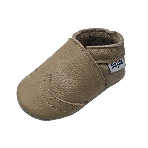 Mejale Weiche Sohle Leder Babyschuhe Lauflernschuhe Krabbelschuhe Kleinkind Kinderschuhe Hausschuhe(Bräunen,12-18 Monate) (Schuhe Jungen Braune)