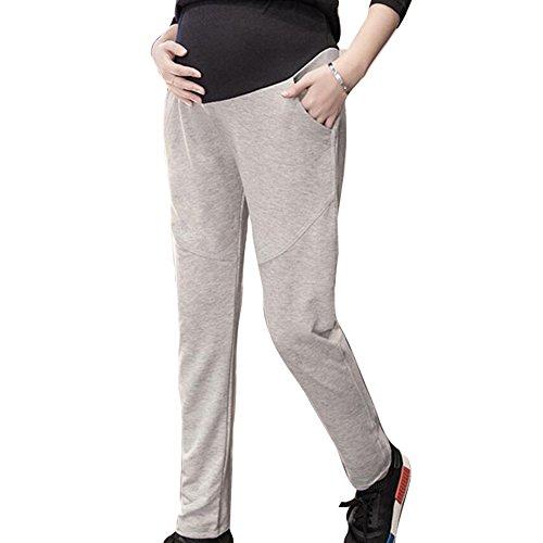 Hibote Womens Pregnancy Yoga Wear Pantalon de coton doux en coton doux à la polaire Gris clair