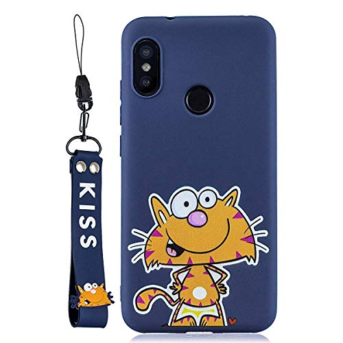 HongYong Case for Xiaomi Mi A2 Lite Case[Including a phone strap] Soft Back Cover Cute Cartoon Cat Candy Colour Girly Bear Design Slim Flexible Protective Case Cover Bumper for Girls, Blue