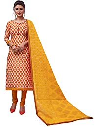 9ffadfaf57 Areum Womens Yellow & Orange Unstitched Cotton Dress Material With Printed  Dupatta(01227-1707_AR