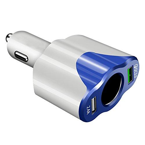 Preisvergleich Produktbild Goodtimes28 Clearance Deals QC3.0 + 2, 4 A Dual-USB-Kfz-Ladegerät mit Zigarettenanzünder-Buchse für Handy und Tablet,  ABS,  White + Blue,  3