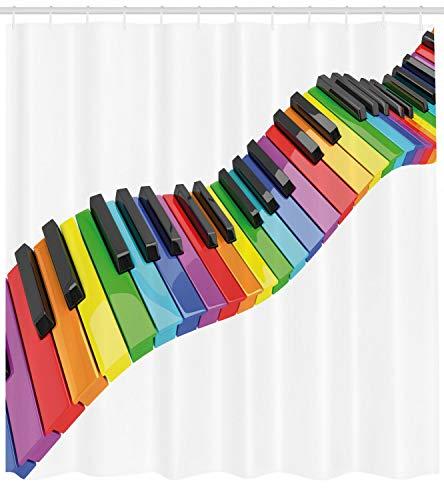 ajhgfjgdhkmdg Musikalische lebendige Tastatur Wasserdichter pflegeleichter langlebiger und verschleißfester Duschvorhang