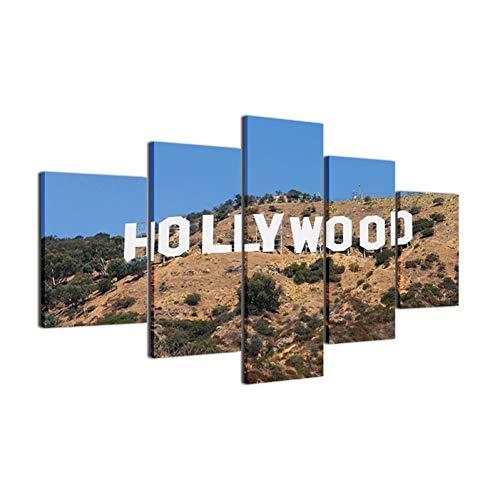 RMRM Holzrahmen Leinwand Malerei Wandkunst Rahmen Moderne Bilder Für Wohnzimmer Dekorative 5 Panel Hollywood Landschaft Poster HD Gedruckt 20x35cm20x45cm 20x55cm