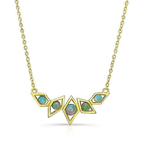 Ron Hami Women's 14ct Yellow Gold Round Multicolour Opal Pendant Necklace of Length 42.5cm