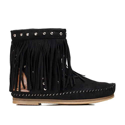Toocool - Stivali bassi indianini camoscio scarpe donna stivaletti frange nuovi JH28-1 Nero