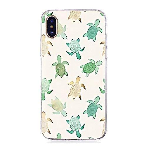 Inonler Kleine weiße Schildkröte und grüne Schildkröte, weiches TPU-Silikon Muster hülle für iphone X,Weiß Hülle