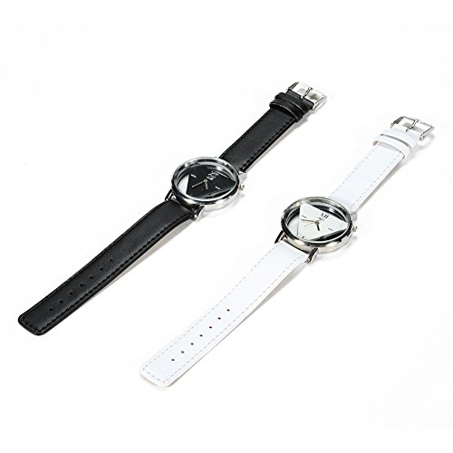 LinTimes Couple Wristwatch Personality Cool Watch for Students, Lovers 2pcs Black White ... (2pcs Triangle)