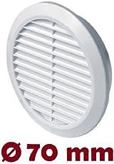 Lüftungsgitter Ø 70 mm rund weiß Insektennetz Abluftgitter Zuluft Abluft Gitter Lüftung T75