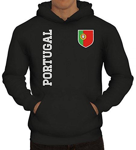 Wappen Fußball WM Fanshirt Gruppen Herren Hoodie Männer Kapuzenpullover Fan Trikot Portugal, Größe: S,Schwarz