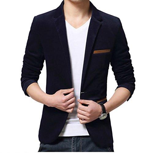 Wenyujh Herren Sakko Blazer Freizeit Casual Anzug Slim Fit (EU M/Asien Tag XXL, Navy Blau) (Navy Anzug-jacke Blauen)