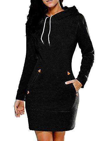 Junshan Pullover Langarm Damen Kleid Frauen Unregelmäßige Oversized S-5XL (50, Schwarz)