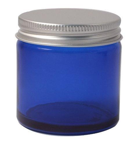 Elixirs of Life Lot de 2 pots vides en verre avec couvercle en aluminium pour aromathérapie, maquillage et crèmes Bleu 60 ml
