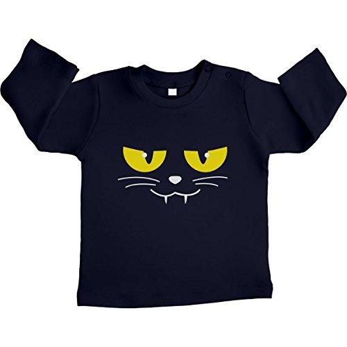 Katzen Gesicht Gruselig Halloween Karneval Kostüm Unisex Baby Langarmshirt Gr. 66-93 3-6 Monate / 66 Marineblau