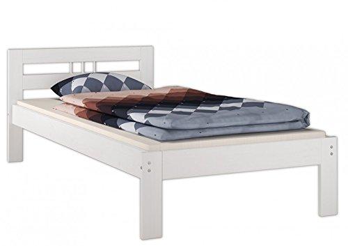 Erst-Holz® Einzelbett Futonbett 100x200 Kieferbett Massivholz weiß Bettgestell ohne Zubehör 60.64-10 W oR