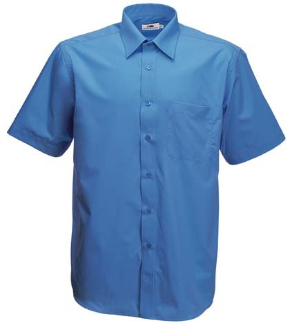 Fruite of the Loom Herren Poplin Kurzarm Business Hemd, vers. Farben 3XL,Mittelblau