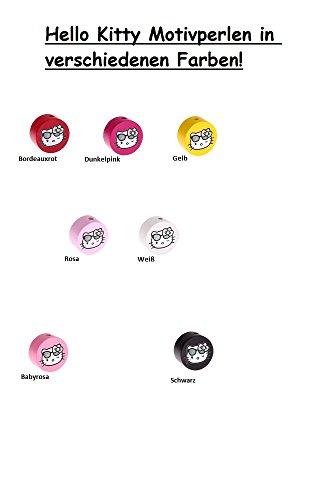 Motivperle Hello Kitty mit Sonnenbrille für Schnullerketten, Greiflinge u.v.m. Farbauswahl! (Gelb)