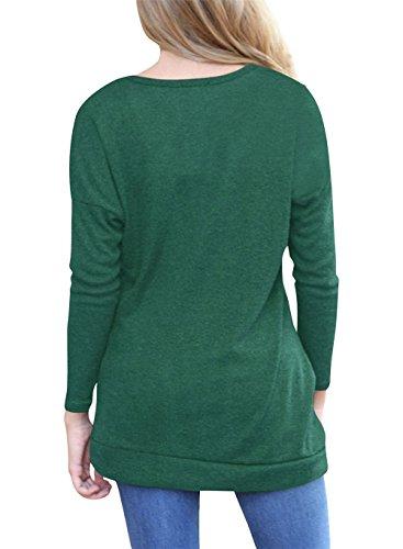 Eineukleid Primavera Autunno Donna Casual Girocollo Maglie a Manica Lunga di Colore Solido Folds Maglietta con Pulsanti Bluse Sottile Top Camicie T-Shirt Verde