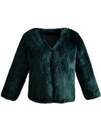 VLUNT Mujer Abrigo de Pelo Chaqueta Invierno Abrigo de Piel Sintética de Fox Chaqueta Fur COA