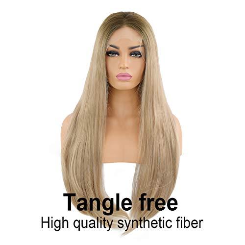24''Blonde Gerade Lace Front Perücken, GLAMADOR Lang Gerade Synthetische Damenperücke, Cosplay Perücken für Frauen, Natürliche Damenperücke, Hitzebeständige Perücke mit einem Freien Haarnetz -