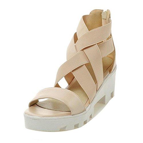 TAOFFEN Femmes Occidental Peep Toe Sandales Bloc Talons Moyen Fermeture Eclair Plateforme Chaussures Beige