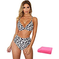 SwirlColor Trajes de Baño Mujer 2019, Bikini con Estampado de Leopardo Atractivo de Moda de Talle Alto y Traje de Baño para Damas con Toalla para Nadar en la Piscina de Playa