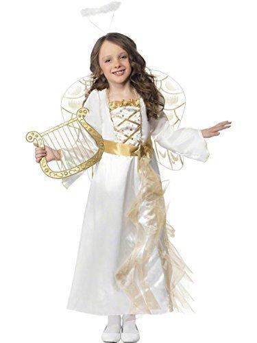 Mädchen Lang Volle Länge Weiß/Gold Angel Gabriel Weihnachten Fee Geburt Kostüm Kleid Outfit 4-9 jahre - Weiß, 7-9 (Gabriel Kostüm Engel)