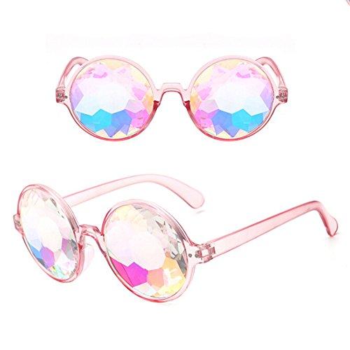 Delleu Kaleidoskop Rainbow Steampunk Goggles Kristall Linsen Schweißen Auge schützen Vintage Gläser (Schweißen Linsen)