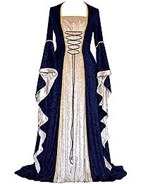 74ff1699f5e87 PengGengA Vestito Medievale Manicotto Allentato Benda da Donna Abito Lungo  retrò Costume di Halloween
