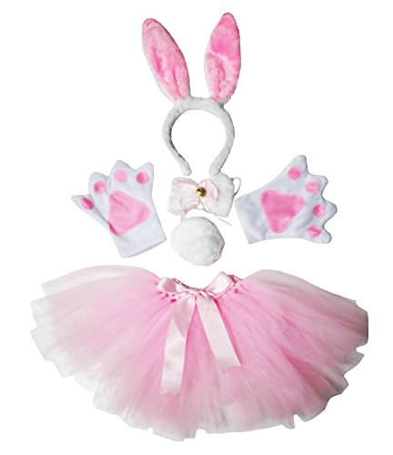 Petitebelle Easter Costume Pink Rabbit Headband Paw Bow Tail Gauze Skirt Set (Pink)