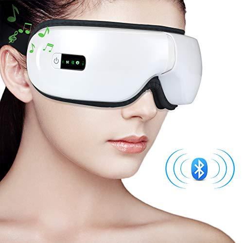 Elektrisches Augenmassagegerät, MANLI Bluetooth Augenmassagegerät Vibration Massage-Augenmaske mit Wärmefunktion Luftverdichtung Musik für Ermüdung der Augen, Schmerzen, trockene Augen, Kopfschmerzen,