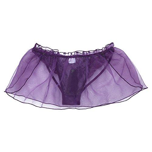 YiZYiF Herren Boxershort Slip Spitze String Tanga Transparent Männer Unterwäsche Unterhosen Briefs Shorts mit weich Organza Rüschen M L XL Lila