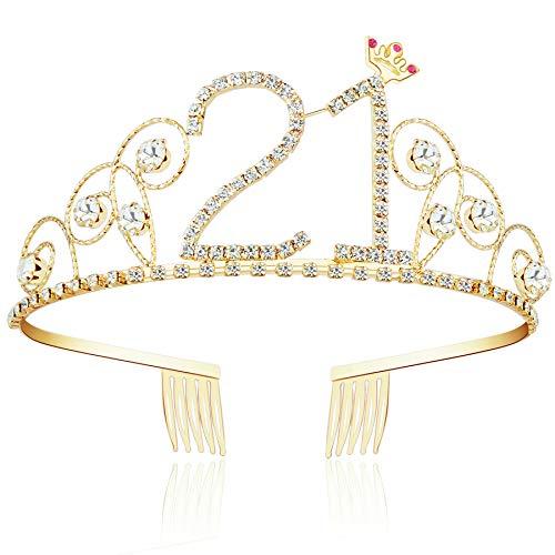 ArtiDeco Kristall Geburtstag Tiara Gold Birthday Crown Prinzessin Kronen Haar-Zusätze Gold Diamante Glücklicher 16/18/20/21/30/40/50/60/70/80/90/100 Geburtstag (21 Jahre alt) (21 Tiara Geburtstag)