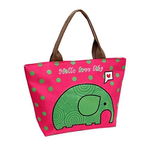 Coloré(TM) Sac Repas Lunch Bag Sac à Déjeuner Isotherme Fourre-tout isolé thermiquement Pique-nique Déjeuner Refroidisseur de sac Cool Bag Bagbag (Rose Vif)