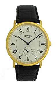 Bernex Swiss Made Gents Slim Gold Plate, Silver Dial Mechanical Wrist Watch leather strap