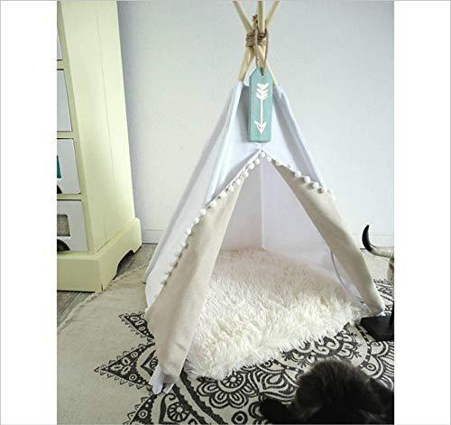 Gzdxhn tenda per animali domestici in puro cotone bianco con nido in feltro, nido per gatti con cuscini