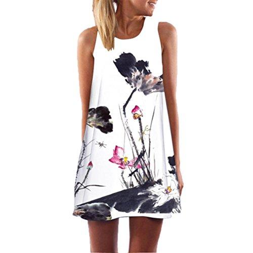 ESAILQ Sommerkleider Damen Kurzarm V-Ausschnitt Strand Blumen Kleider Abendkleid Knielang(XL,Weiß)