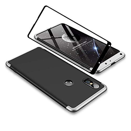 YFXP Xiaomi Mi Mix 2S Funda - Funda Xiaomi Mi Mix 2S 360 Grados Integral para Ambas Caras + Cristal Templado, Luxury 3 in 1 PC Hard Skin Carcasa Case Cover para Xiaomi Mi Mix 2S Plata Negro